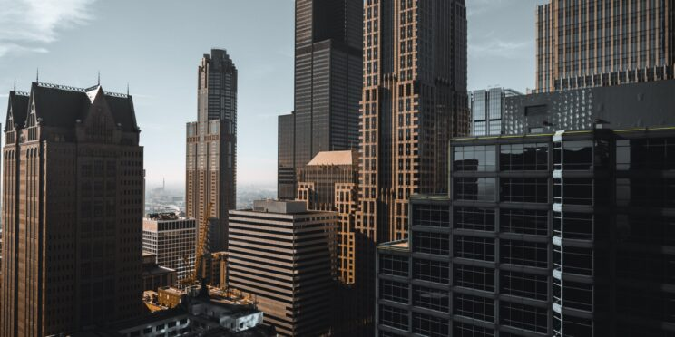 A view of crowded city buildings